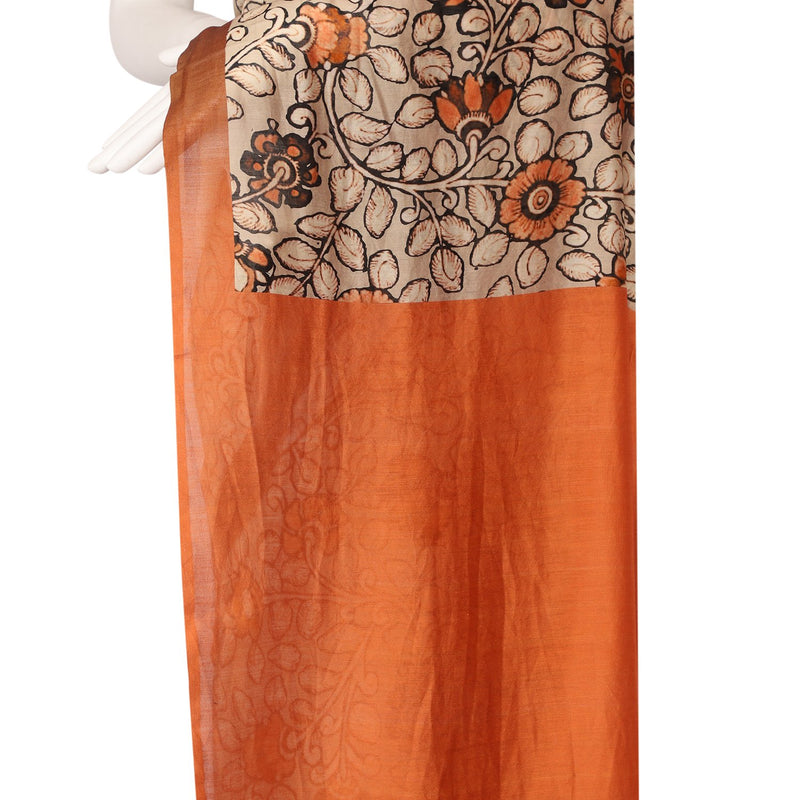 FFAB Saree Collection | Digital Printed Chanderi Saree With Blouse Piece | Beige Color