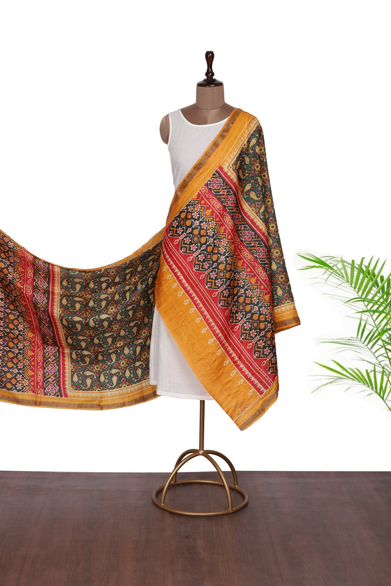 FFAB Dupatta Collection | Digital Printed Tussar Silk Dupatta | Multi Color