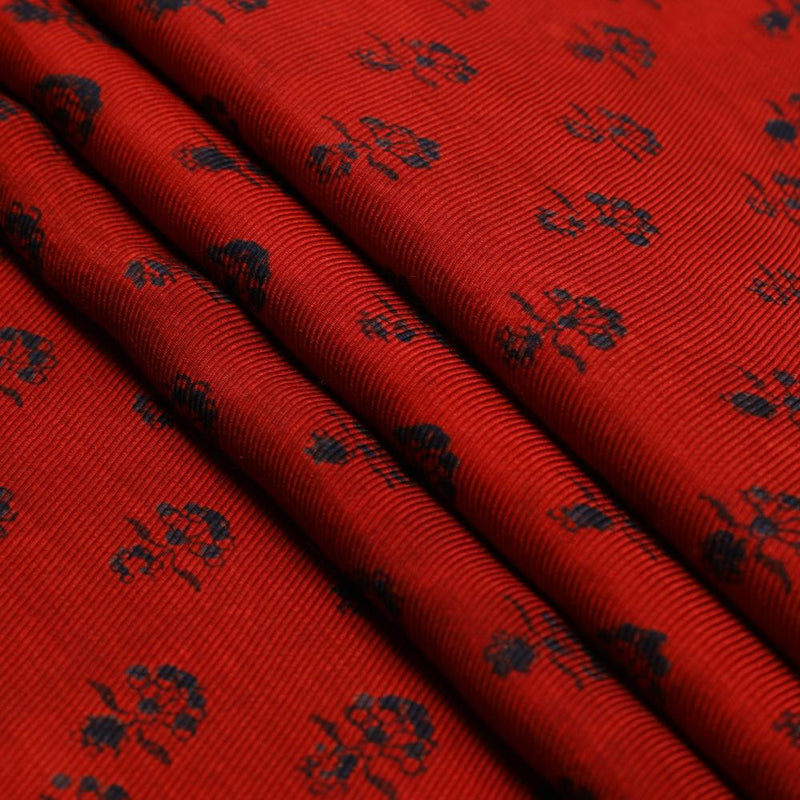 FFAB Fabric Collection | Handcrafted Ajrakh Print on Modal Satin Dobby Fabric | Dark Red Color | 3 Mtr Piece
