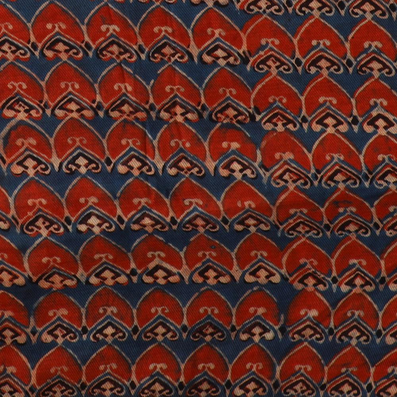 FFAB Fabric Collection | Handcrafted Azrakh Print on Modal Satin Dobby Fabric | Blue-Red Color | 2.90 Mtr Piece