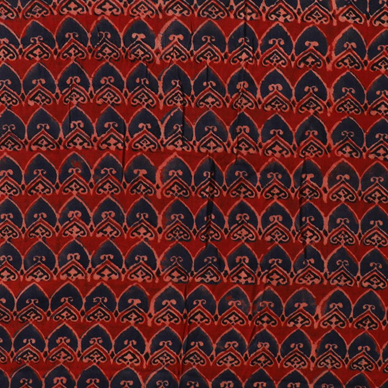 FFAB Fabric Collection | Handcrafted Azrakh Print on Modal Satin Dobby Fabric | Dark Red-Dark Blue Color | 2.90 Mtr Piece