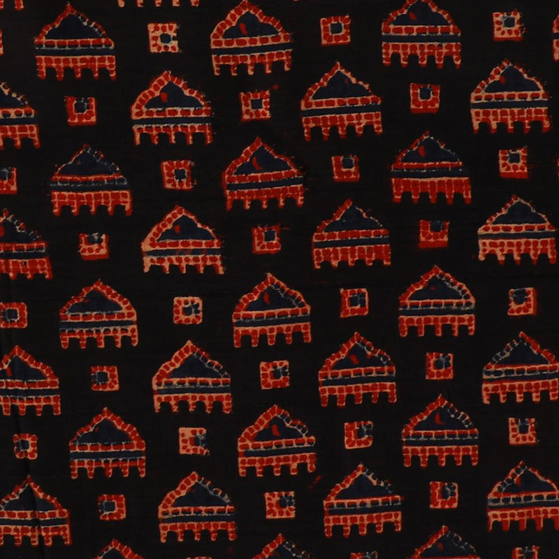 FFAB Fabric Collection | Handcrafted Azrakh Print on  Modal Satin Dobby Fabric | Black-Red Color | 3 Mtr Piece