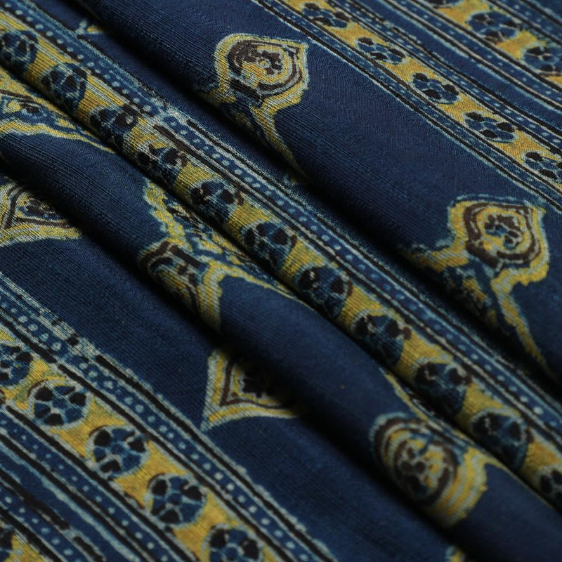 FFAB Fabric Collection | Handcrafted Azrakh Print on  Modal Satin Dobby Fabric | Blue Color | 3 Mtr Piece