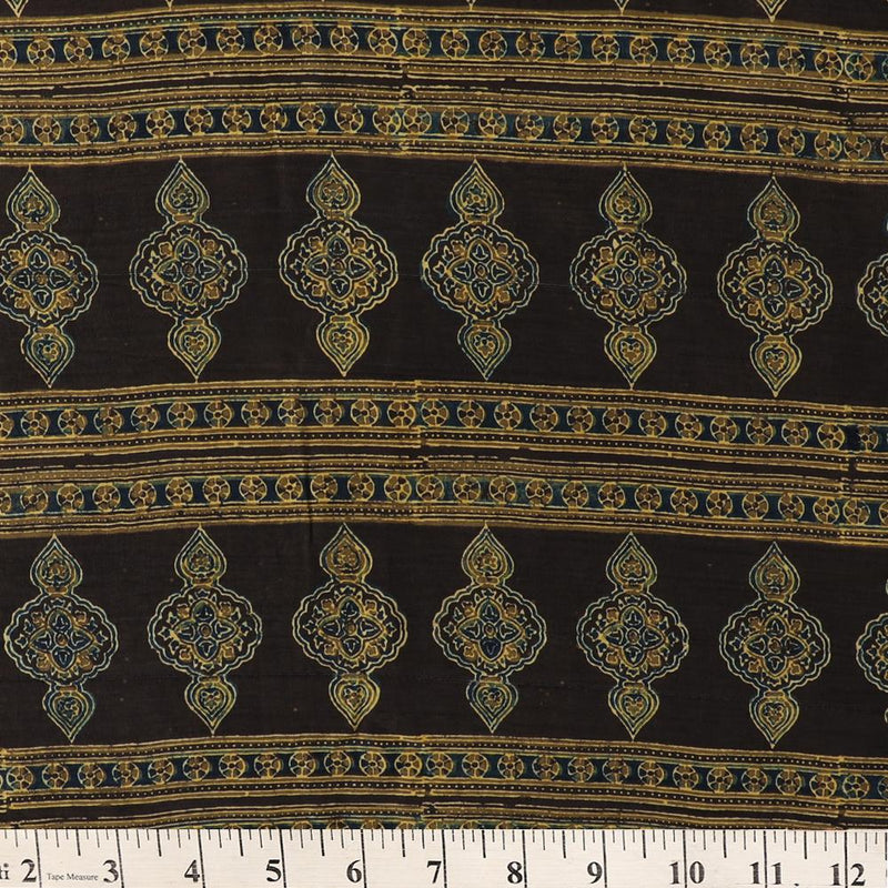 FFAB Fabric Collection | Handcrafted Azrakh Print on  Modal Satin Dobby Fabric | Black-Olive Green Color | 2.80 Mtr Peice