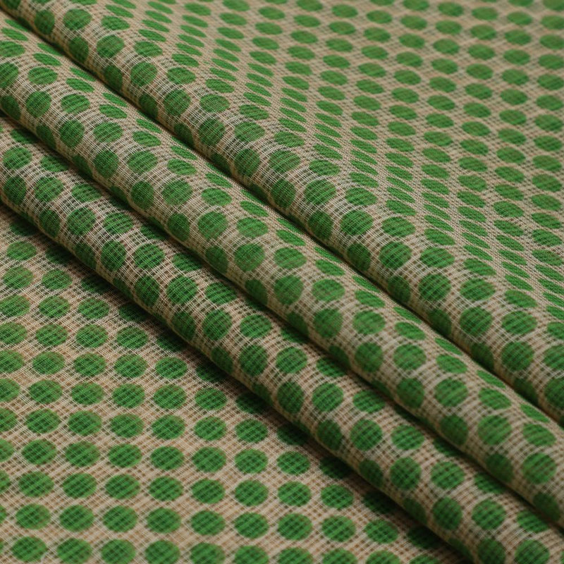 FFAB Fabric Collection | Print on Cotton Kota Fabric | Green-Beige Color