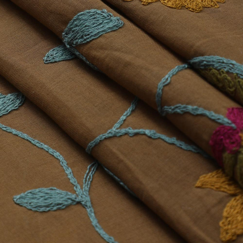 FFAB Fabric Collection | Embroidery on High Twisted Cotton Voile Fabric | Brown Color