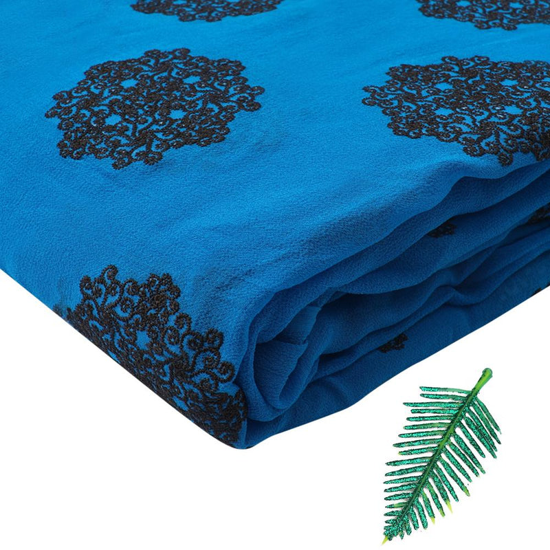 FFAB Fashion Fabric Collection | Embroidery on Silk Georgette Fabric | Blue and Black Color