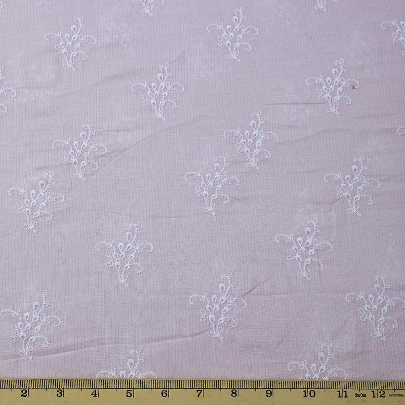 FFAB Fashion Fabric Collection | Embroidery on Cotton Voile Fabric | Light Pink Color