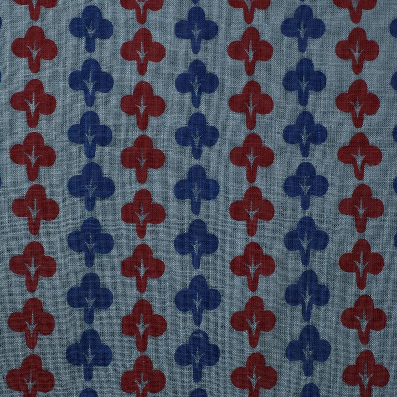 FFAB Fabric Collection | Print on Matka Silk Fabric | Blue and Red Color