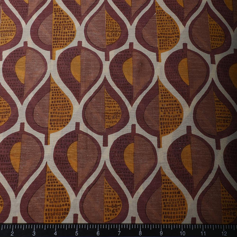 FFAB Fabric Collection | Print on Bemberg Modal Fabric | Dusty Rose-Mustard Color