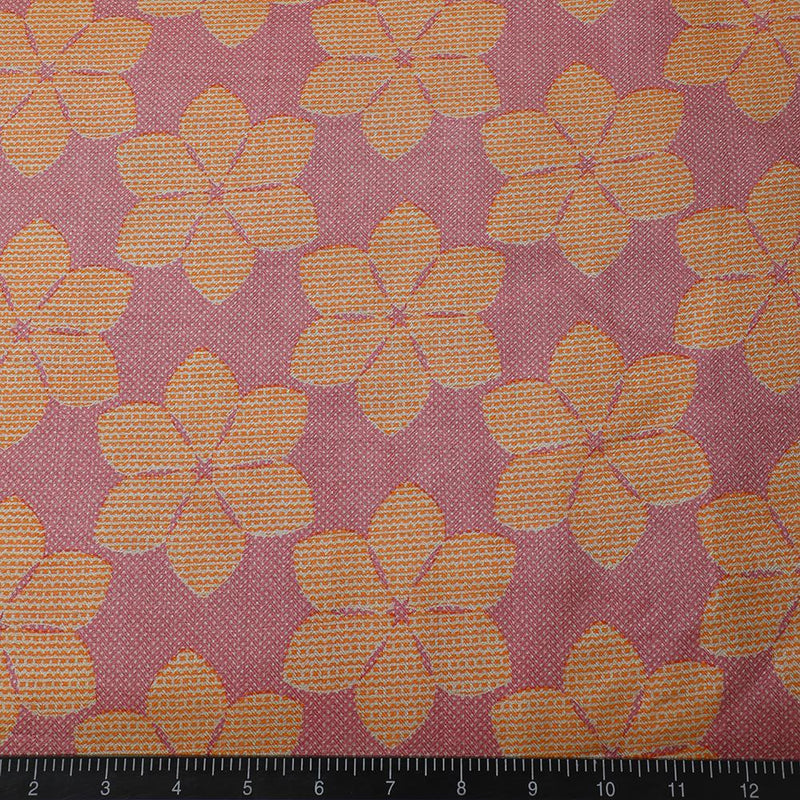FFAB Fabric Collection | Print on Pashmina Silk Fabric | Pink-Orange Color