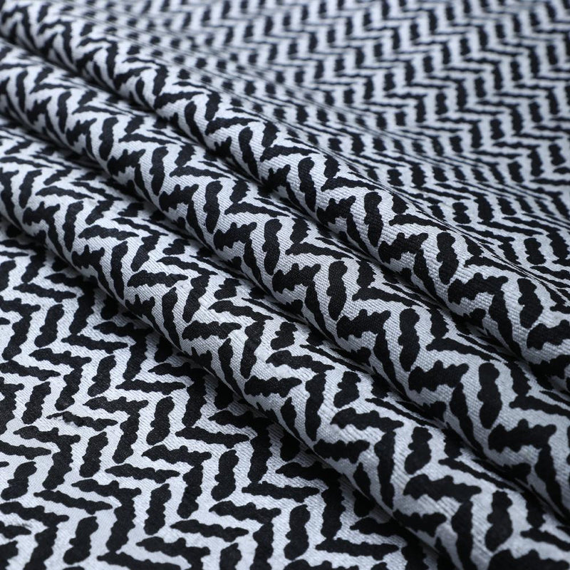 FFAB Fabric Collection | Print on Dupion Silk Fabric | Black and White Color
