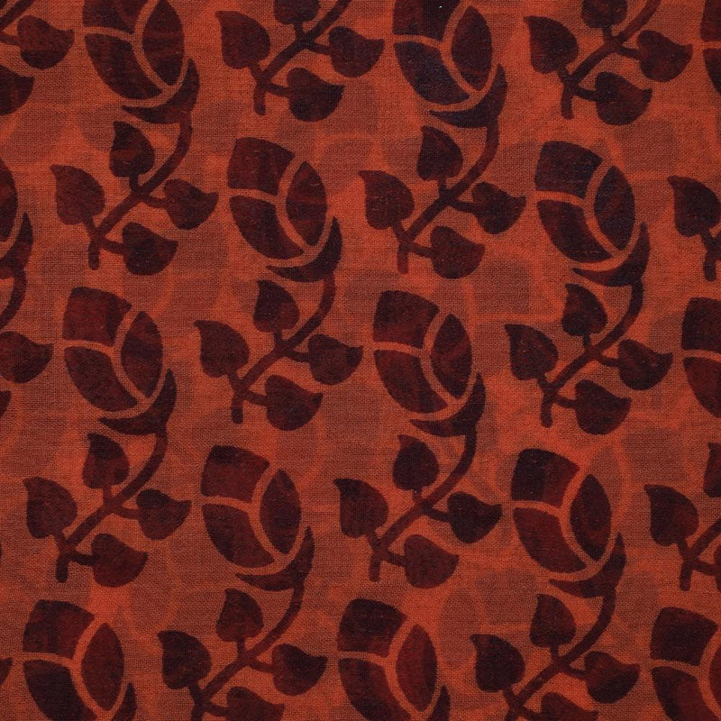 FFAB Fabric Collection | Printed Bemberg Georgette Fabric | Orange-Brown Color
