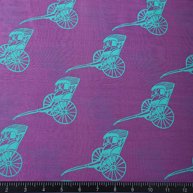 FFAB Fabric Collection | Print on Fine Chanderi Fabric | Orchid-Medium Spring Green Color
