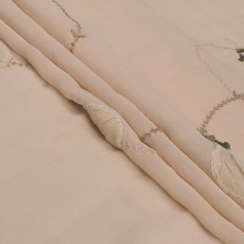 FFAB Fashion Fabric Collection | Embroidery on Silk Georgette Fabric | Cream Color
