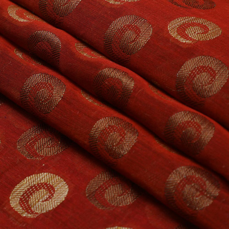 FFAB Fabric Collection | Chanderi Jacquard Fabric | Brown Color