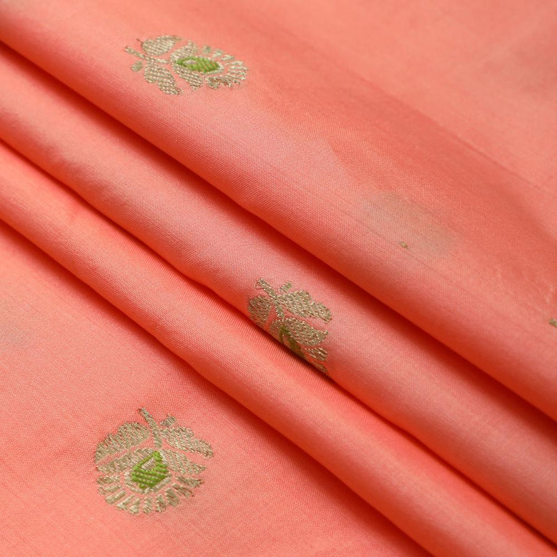 FFAB Fabric Collection | Handwoven Brocade Fabric | Peach-Golden Color