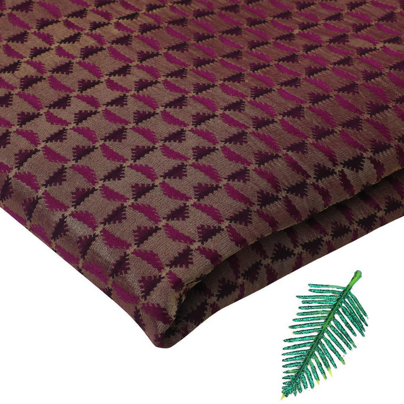 FFAB Fabric Collection | Crepe Brocade Fabric | Purple-Golden Color