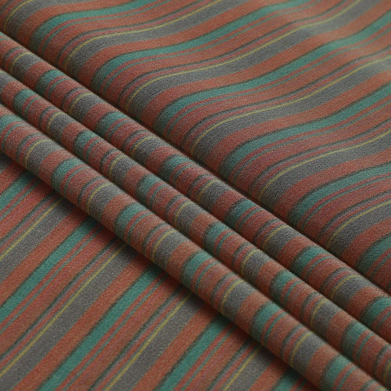 FFAB Fabric Collection | Yarn Dyed Georgette Silk Fabric | Green and Orange Color