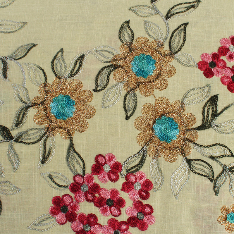 FFAB Fabric Collection | Embroidery on Cotton Fabric | Multi Color