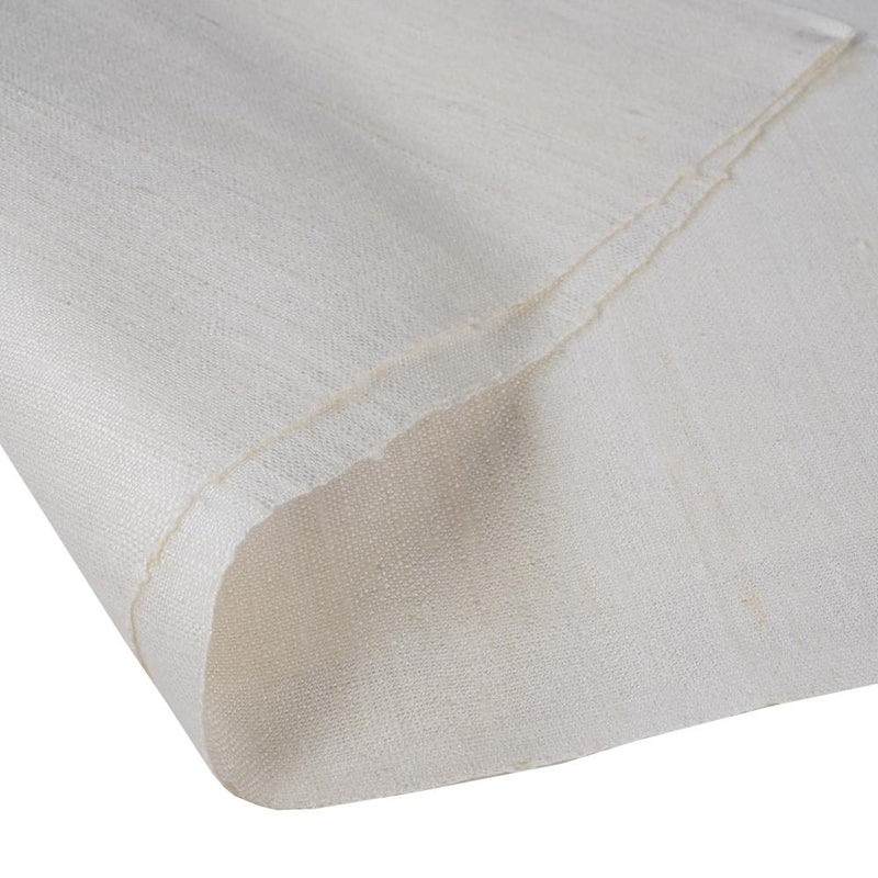 FFAB Regular Fabric Collection | Handwoven Bamboo Matka Silk Fabric | Off-White Color | Dyeable