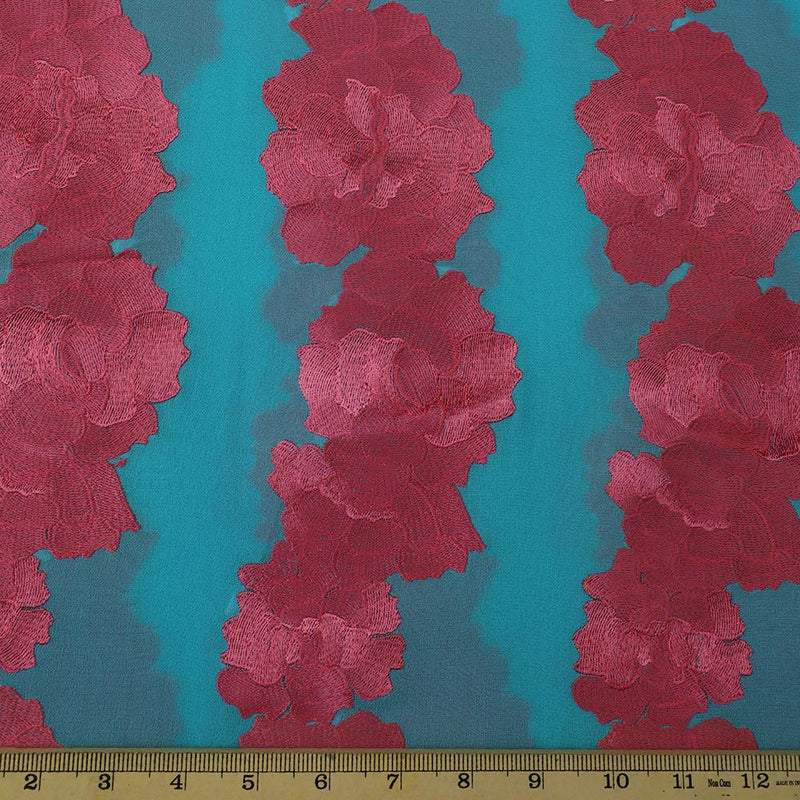 FFAB Fabric Collection | Embroidery on Georgette Silk Fabric | Coral Color