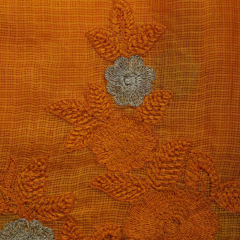 FFAB Fabric Collection | Embroidery on Kota Silk Fabric | Orange Color