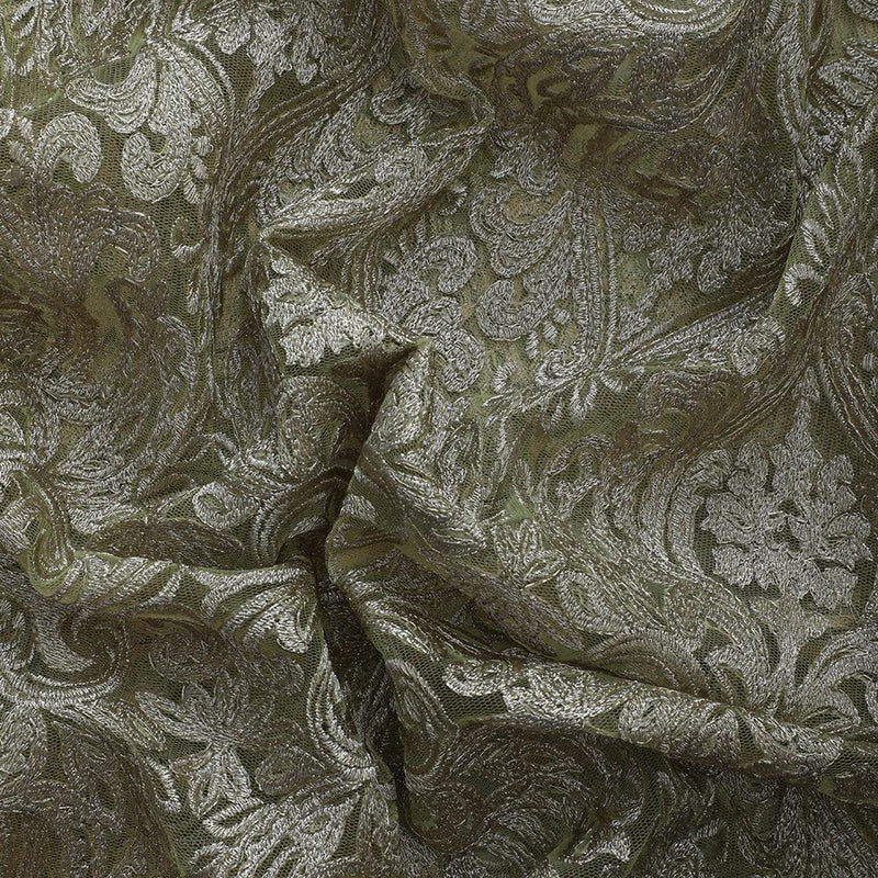 FFAB Fashion Fabric Collection | Embroidery on Nylon Net Fabric | Gold Color