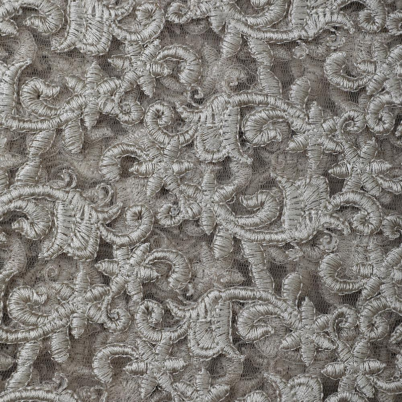 FFAB Fabric Collection | Embroidered Nylon Net Fabric | Beige Color