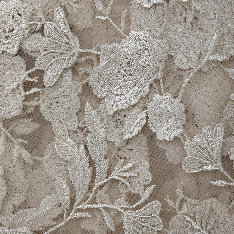 FFAB Fashion Fabric Collection | Embroidery on Nylon Net Fabric | Cream Color