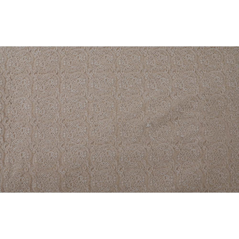 FFAB Fashion Fabric Collection | Embroidery on Nylon Net Fabric | Beige Color