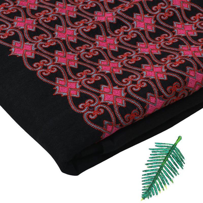 FFAB Fabric Collection | Embroidery on Muga Silk Fabric | Black-Red Color