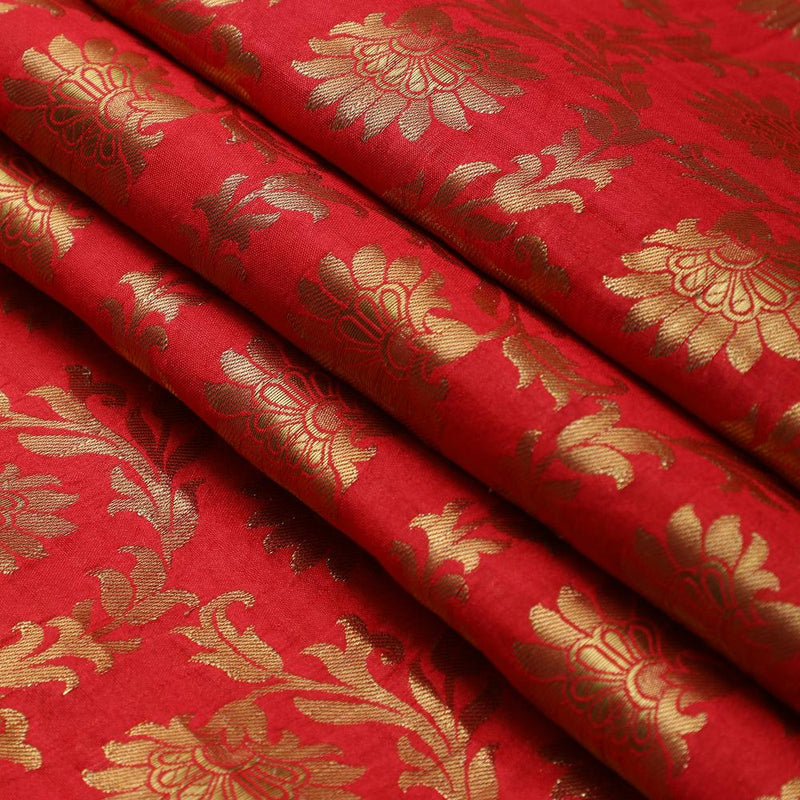 FFAB Fabric Collection | Brocade Fabric | Amaranth Red-Golden Color