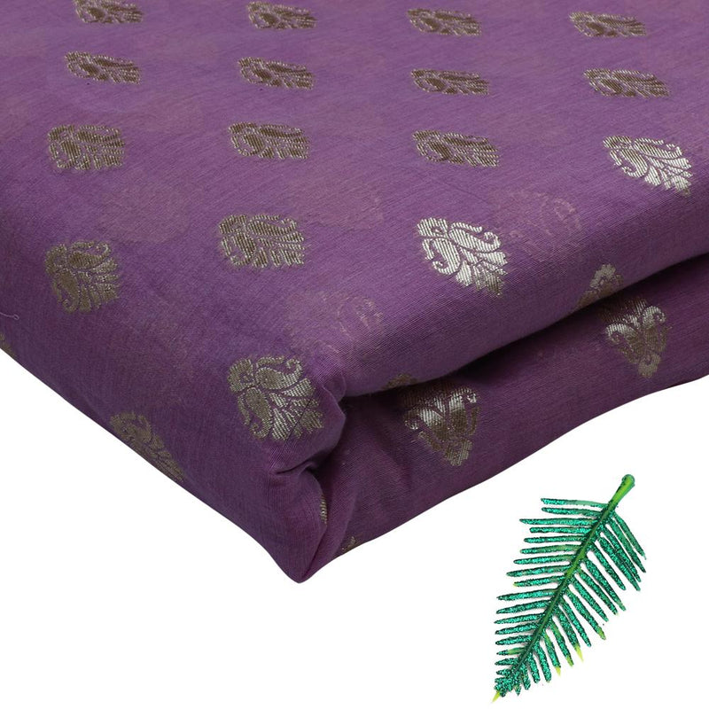 FFAB Fashion Fabric Collection | Jacquard Silk Fabric | Purple and Golden Color