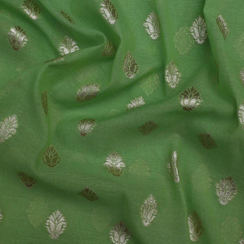 FFAB Fashion Fabric Collection | Woven Silk Jacquard Fabric | Parrot Green Color