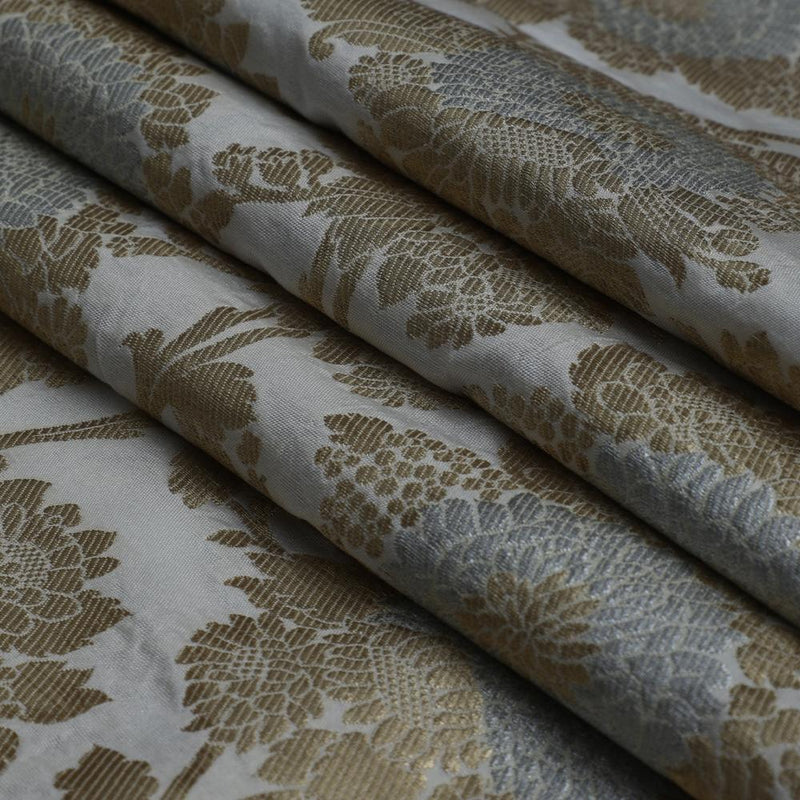 FFAB Fabric Collection | Brocade Dupion Fabric | Golden-White Color