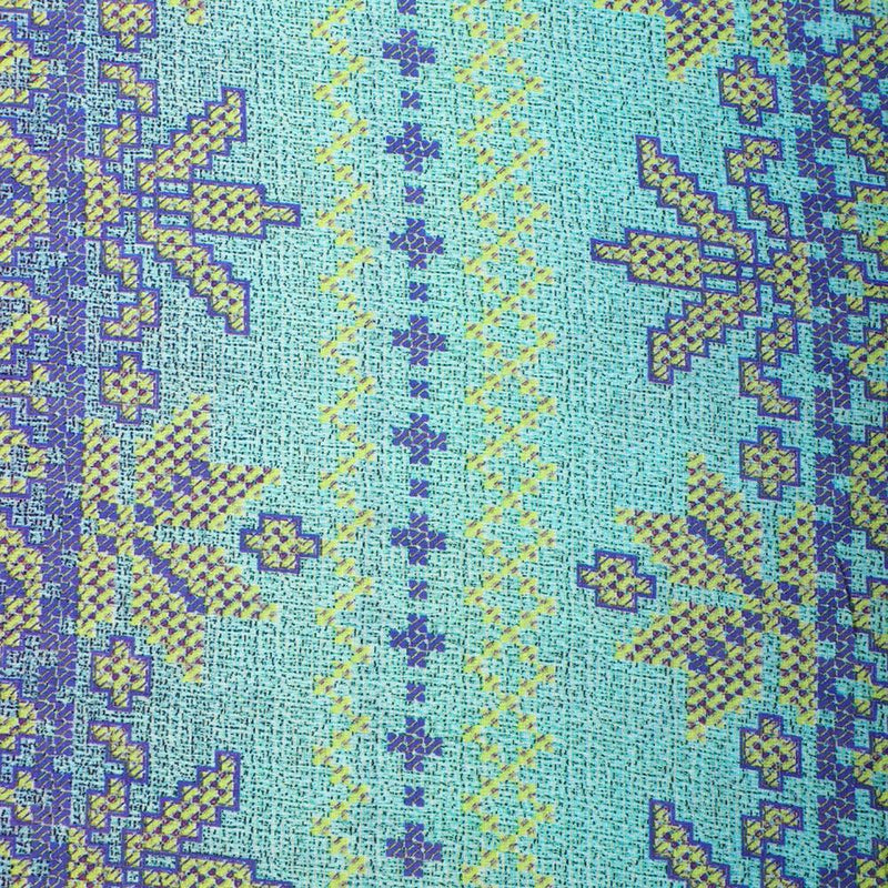 FFAB Fabric Collection | Digital Print on High Twisted Cotton Voile Fabric | Light Blue-Yellow Color