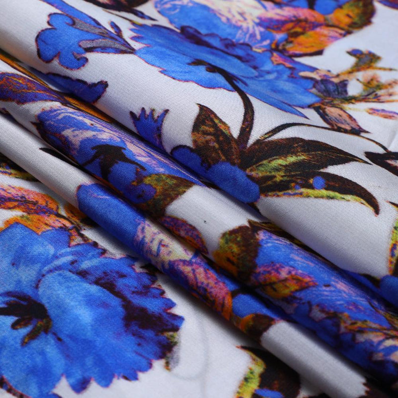 FFAB Fabric Collection | Digital Print on Bemberg Crepe Fabric | Blue Color