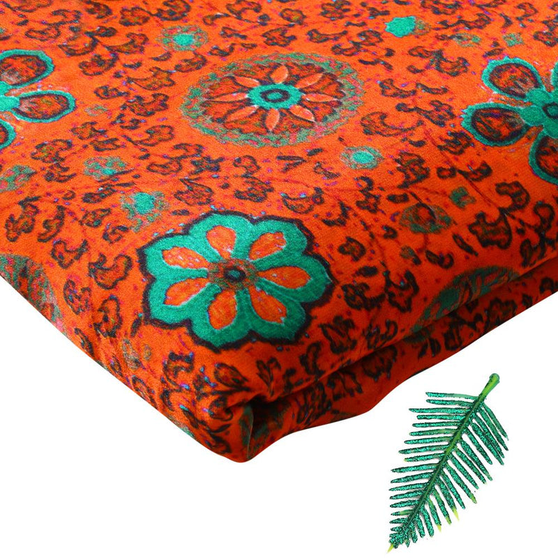 FFAB Fabric Collection | Digital Print on Bemberg Satin Georgette Fabric | Orange-Green Color