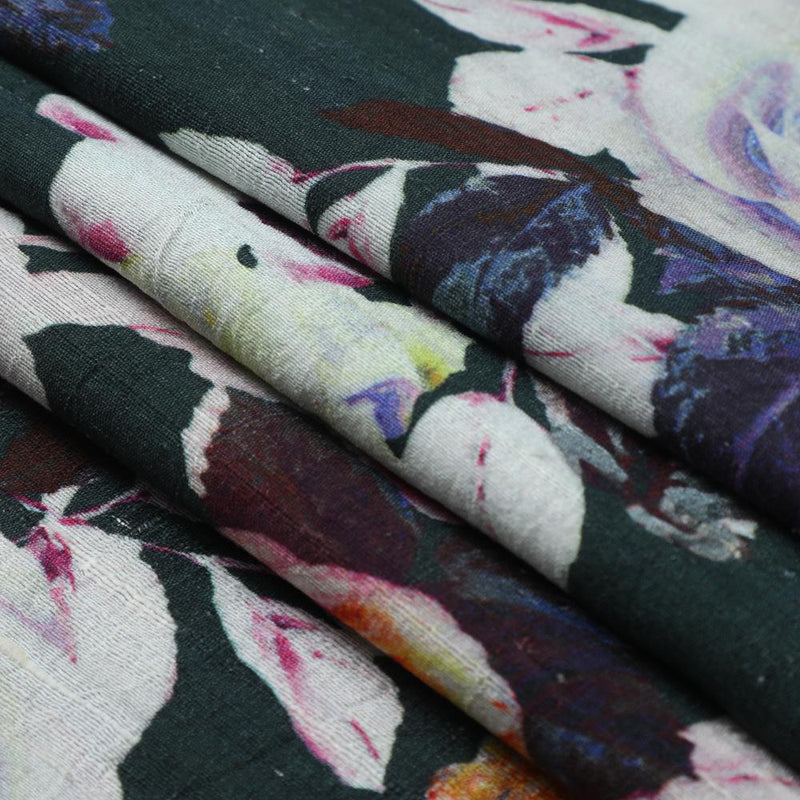 FFAB Fabric Collection | Digital Print on Dupion Silk Fabric | Dark Green-Off White Color