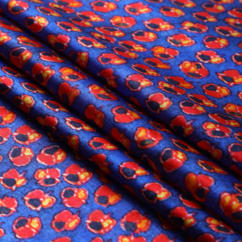 FFAB Fabric Collection | Digital Print on Bemberg Satin Georgette Fabric | Blue-Red Color