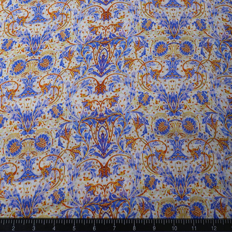 FFAB Fabric Collection | Digital Print on Bemberg Satin Fabric | Blue Color