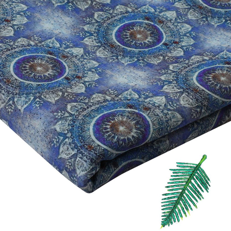 FFAB Fabric Collection | Digital Print on Tussar Chanderi Fabric | Blue Color