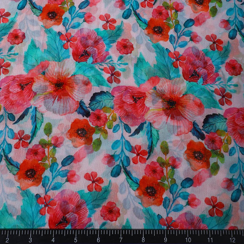 FFAB Fabric Collection | Digital Print on Chiffon Silk Fabric | Multi Color
