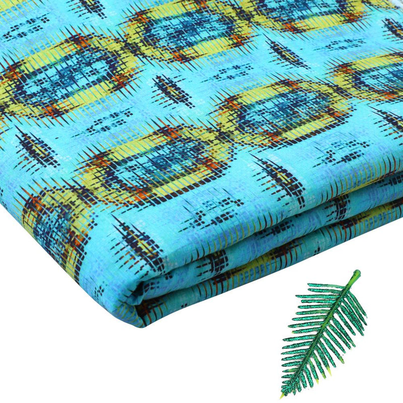 FFAB Fabric Collection | Digital Print on Cotton Lawn Fabric | Blue and Yellow Color