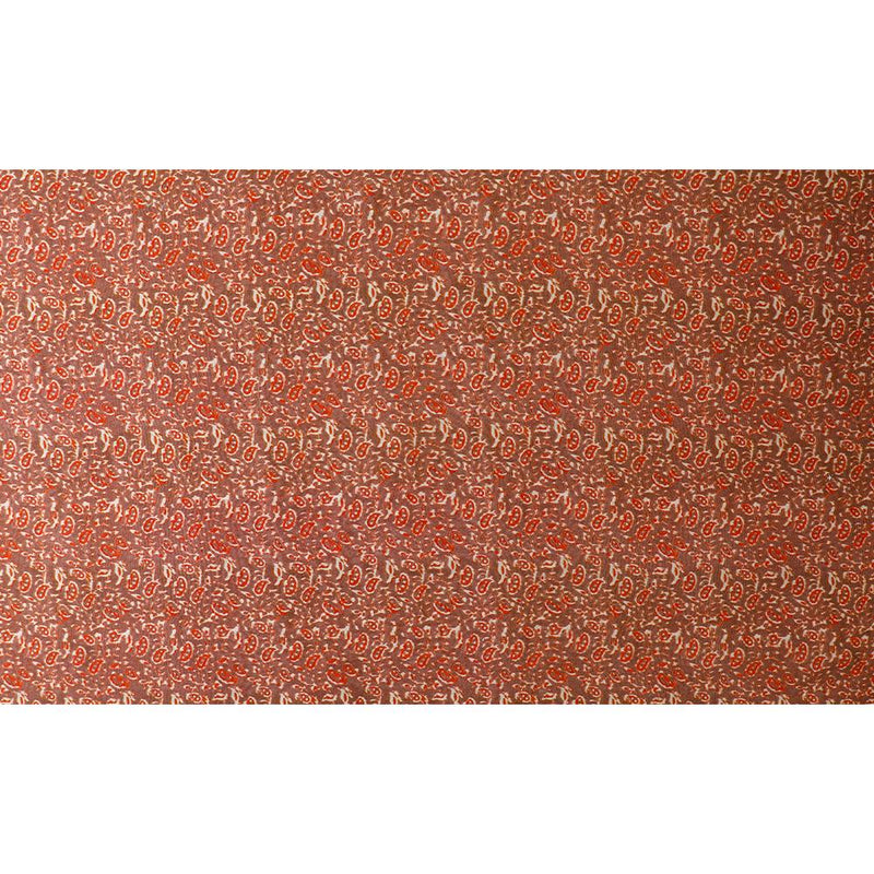 FFAB Fabric Collection | Digital Print on Fine Chanderi Fabric | Brown and Red Color