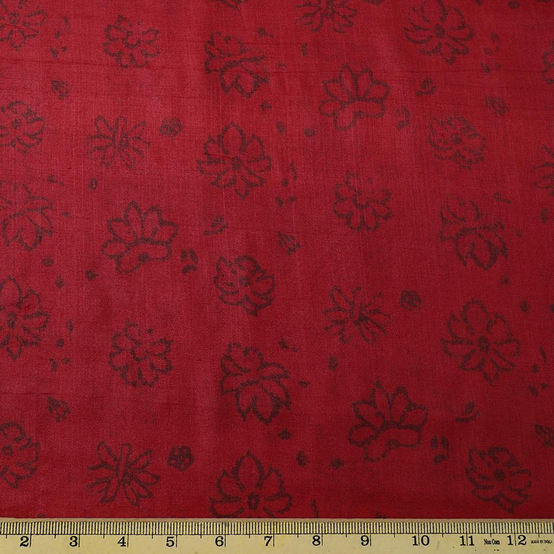 FFAB Fabric Collection | Printed Tussar Silk Fabric | Maroon Color