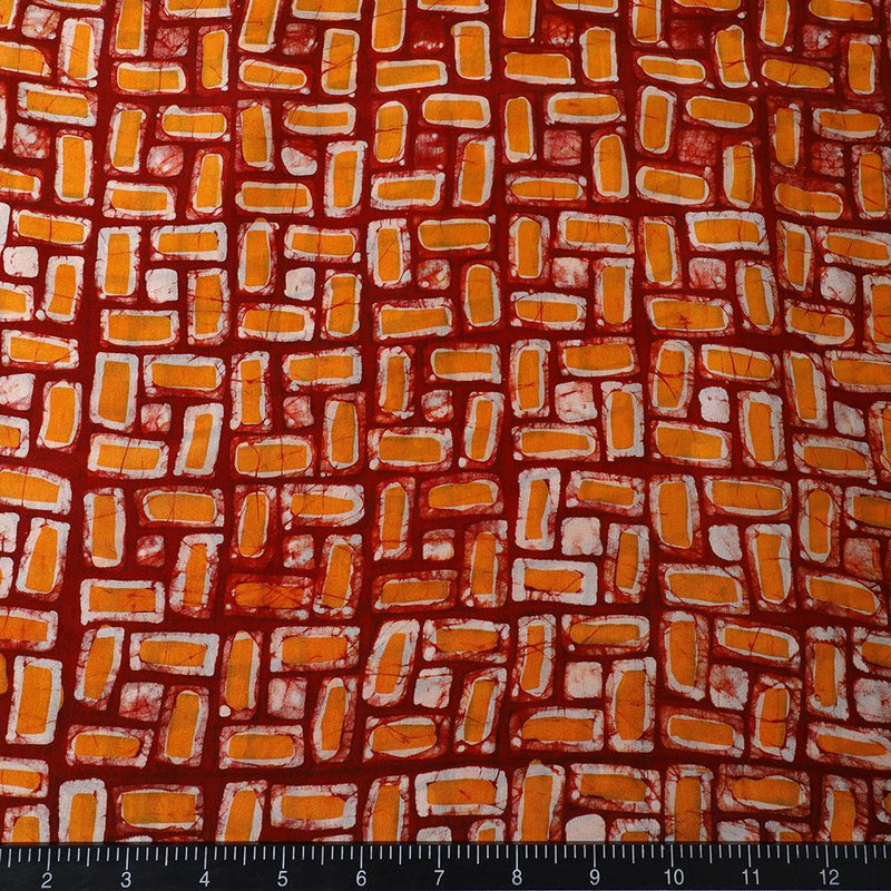 FFAB Fabric Collection | Handcrafted Batik Print on Silk Fabric | Red-Mustard Color