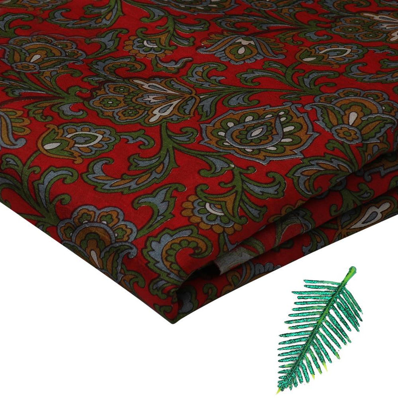 FFAB Fabric Collection | Print on Silk Dupion Fabric | Red and Green Color