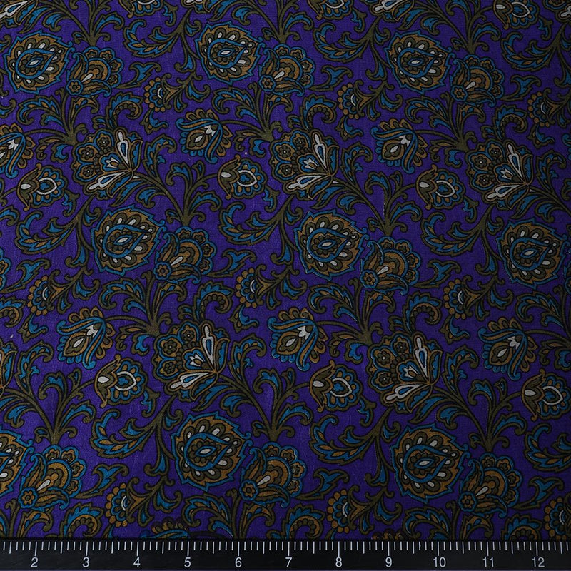 FFAB Fabric Collection | Print on Silk Dupion Fabric | Dark Purple Color